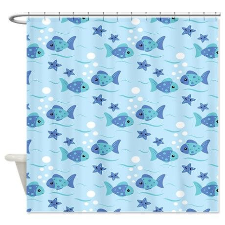 Tropical fish shower curtain on for Tropical fish shower curtain