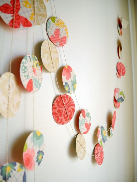 Colorful circle paper garland with butterflies by HoopsyDaisies