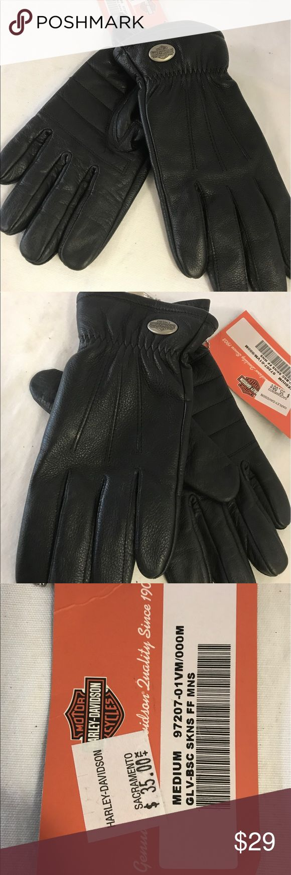Womens black leather gloves australia - Harley Davidson Medium Leather Gloves Nwt