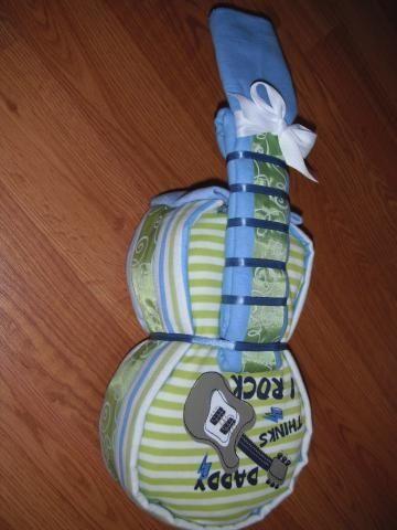 31666003600792225 Baby Boys Daddy Think I Rock Diaper Guitar   Baby Shower Gift  by tiffanylynnwilliams for $37.00