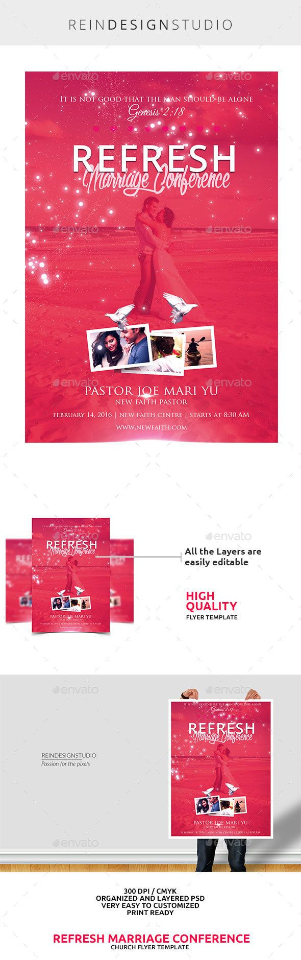 Refresh Marriage Conference — Photoshop PSD #biblical #love • Available here → https://graphicriver.net/item/refresh-marriage-conference/14887420?ref=pxcr