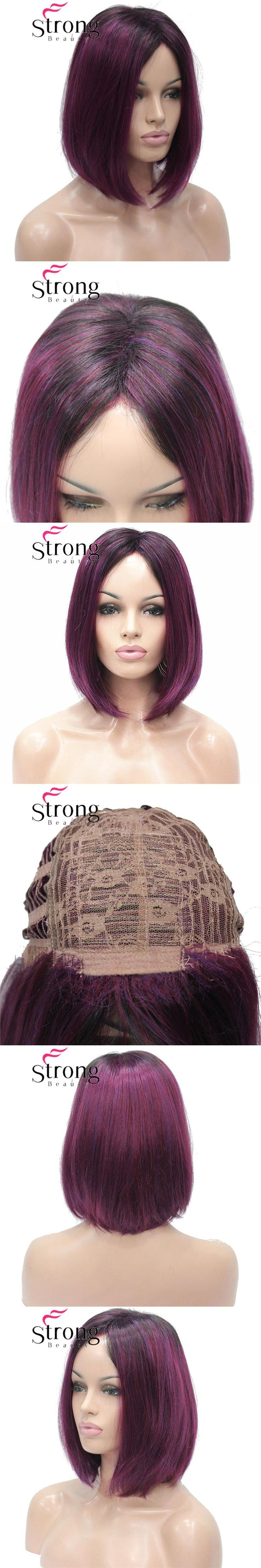 StrongBeauty Angled Bob Wig Ombre Deep Purple Dark Root Midnight Berry Synthetic Fiber Short Wigs