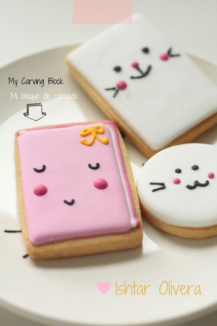 bunny faces! (also works on home made cake in bunny shape or supermarket's roze koeken a/o likkoekjes)