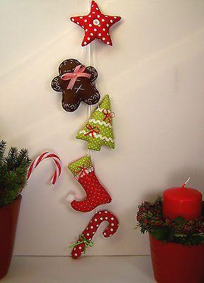 Lebkuchenmann♥Zuckerstange♥Nikolausstiefel♥Weihnachten♥Girlande♥nach Tilda Art♥