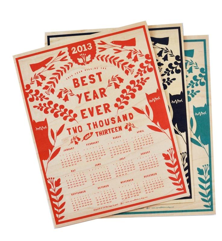 2013 Maple Veneer Wall Calendar. $25.00, via Etsy.