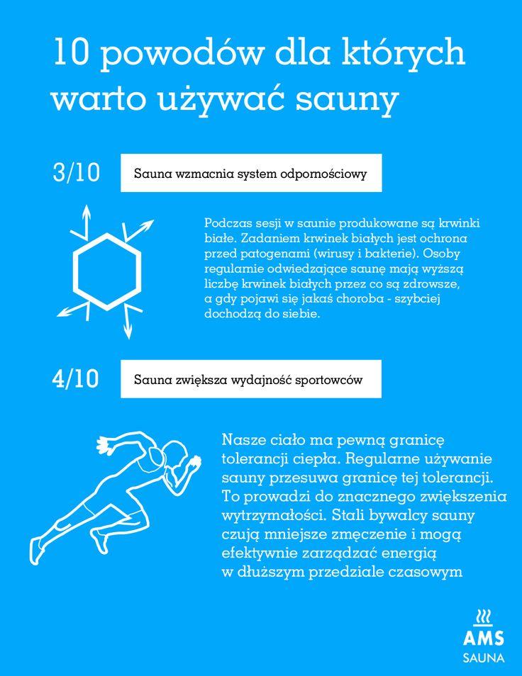 Z cyklu 10 powodów dla których warto używać sauny. Sauna wzmacnia system odpornościowy oraz polepsza wydajność sportowców.