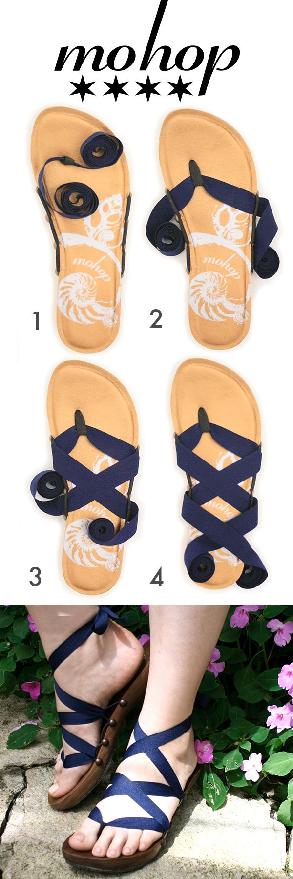 """Mohop Styling Card! How to Tie tutorial for Mohop thong ribbon sandals. Bespoke low handsculpted wood sandals X 5/8"""" navy ribbon."""