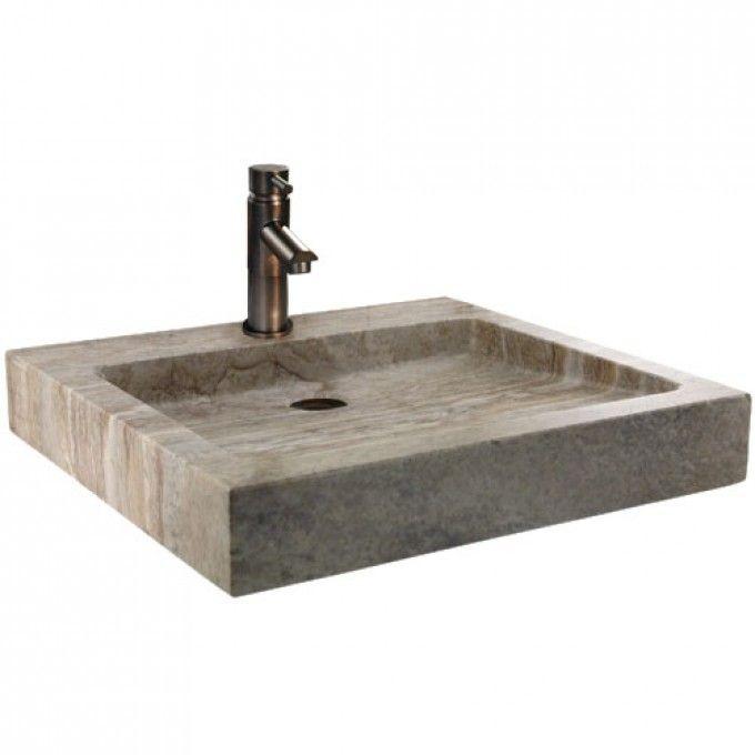 Square Polished Travertine Vessel Sink Travertine, Vessel Sink ...