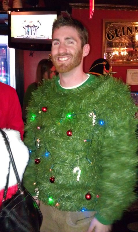 Dibs again! Ugly Christmas Sweater, Christmas sweater, christmas tree sweater, homemade, Scary funny - from Santa Conference NYC 2011