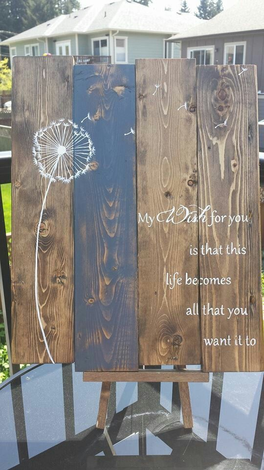 Dandelions And Wishes Do Come True Pallet Wood Chalk