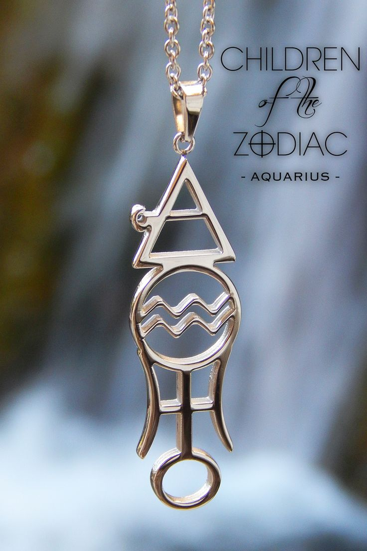 """Harness the power of the stars with this Aquarius Zodiac Necklace. A subtle reminder of that which you are destined for.  ★ The Vertical Aquarius Necklace from the """"Children Of The Zodiac"""" collection by Patrick Simon consists of the Aquarius astrological symbol, Air alchemical symbol, which is the ruling element associated with Aquarius and the Uranus alchemical symbol, which is the ruling planet associated with the Aquarius sign."""