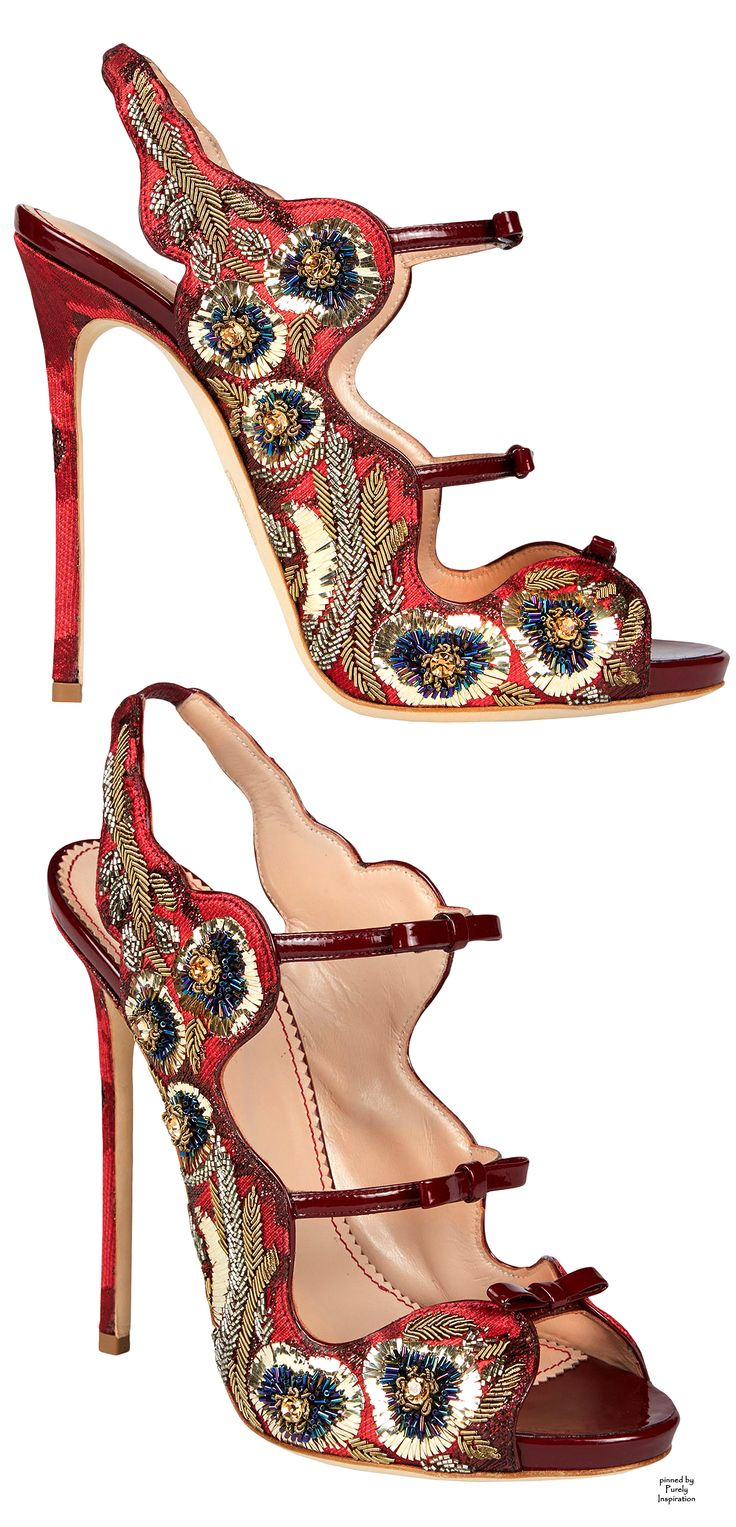Dsquared2 ~ Summer Burgundy Leather + Beaded Slingback Pumps 2015