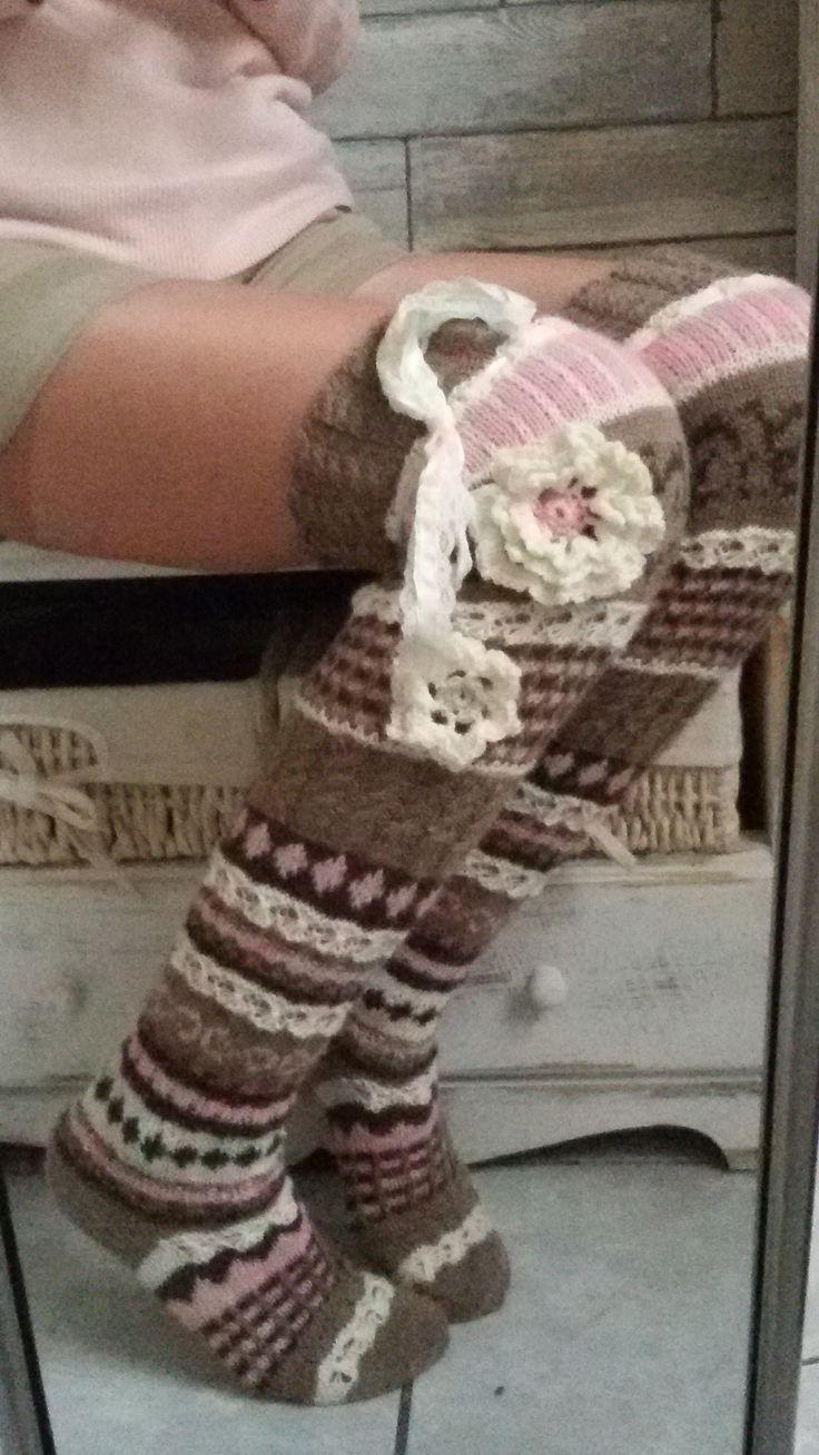 Handgestrickte Overknees aus 4-fach Sockenwolle
