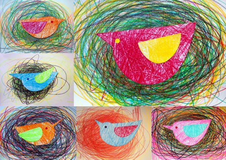 kindergarten bird in nest using colorful, curvy lines and colorful bird | small heads of art.