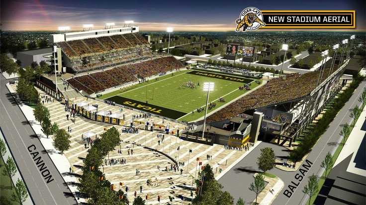 Images for the new Hamilton TiCat stadium, view from the south east.