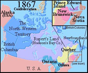 Map of Canada 1867  Brief Canadian History 1867-1899