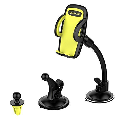 Omaker Car Mount Holder 3-in-1 Air Vent Cell Phone Holder Cradle Dashboard Windshield Universal for iPhone 7, 6, 6S, Samsung. For product info go to:  https://www.caraccessoriesonlinemarket.com/omaker-car-mount-holder-3-in-1-air-vent-cell-phone-holder-cradle-dashboard-windshield-universal-for-iphone-7-6-6s-samsung/