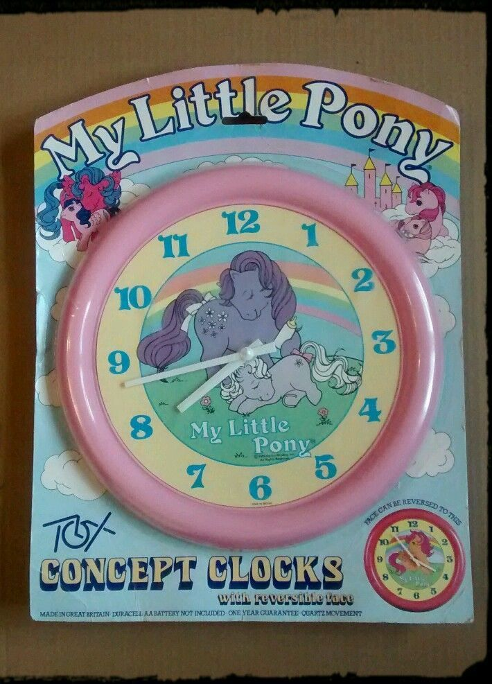 My Little Pony wall clock 1980's original reversible vintage packaging MLP G1 in Toys & Games, TV & Film Character Toys, TV Characters | eBay