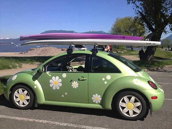 Volkswagen Beetle with Flower stickers