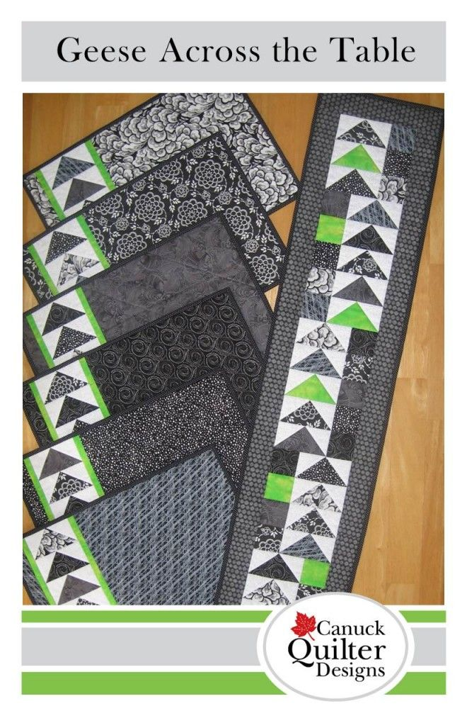 Adding a single bright contrasting fabric to a monochrome colour scheme makes all the prints pop in this crisp table set. Make flying geese units quickly and easily four-at-a-time with the instructions included, or use your favourite method. Either way yo...