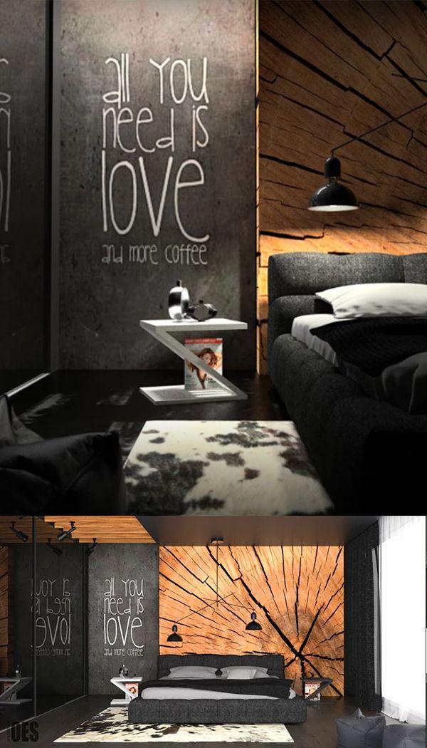 Черная спальня с мягкой кроватью и деревянным декором на стене, стиль лофт. Black bedroom with soft bed and wooden decor on the wall.