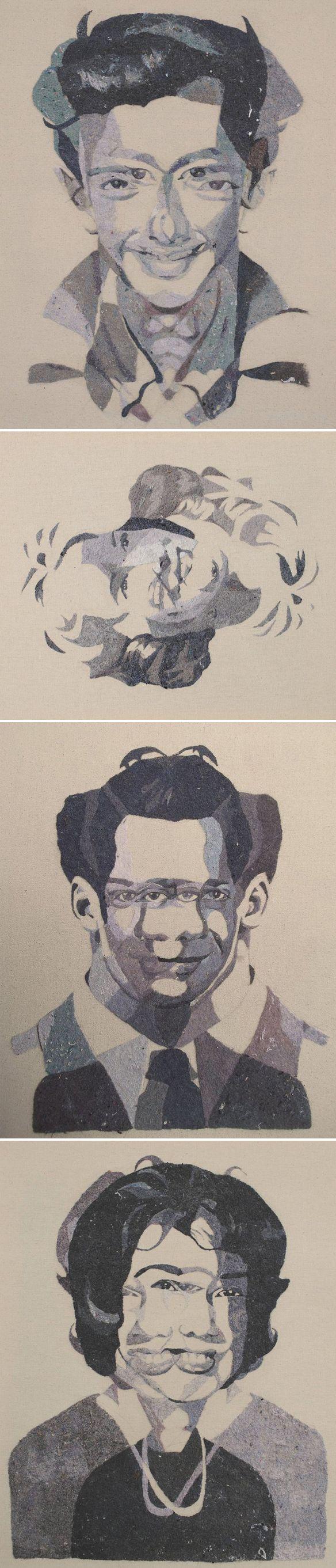 portraits by tonya corkey... made from LINT! yep, lint on canvas <3