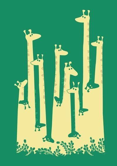 Positive Negative Drawings | positive / negative giraffe art by Shmart
