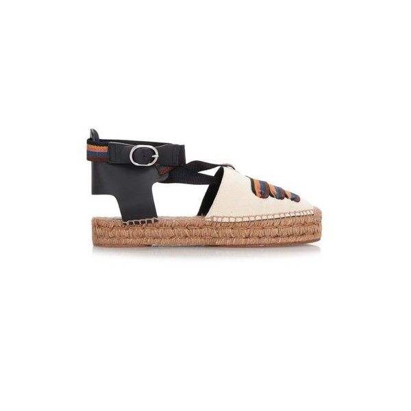 PAUL SMITH 'March' Sandals ($253) ❤ liked on Polyvore featuring shoes, sandals, multi, espadrille sandals, striped espadrilles, multi color sandals, woven sandals and black and white shoes