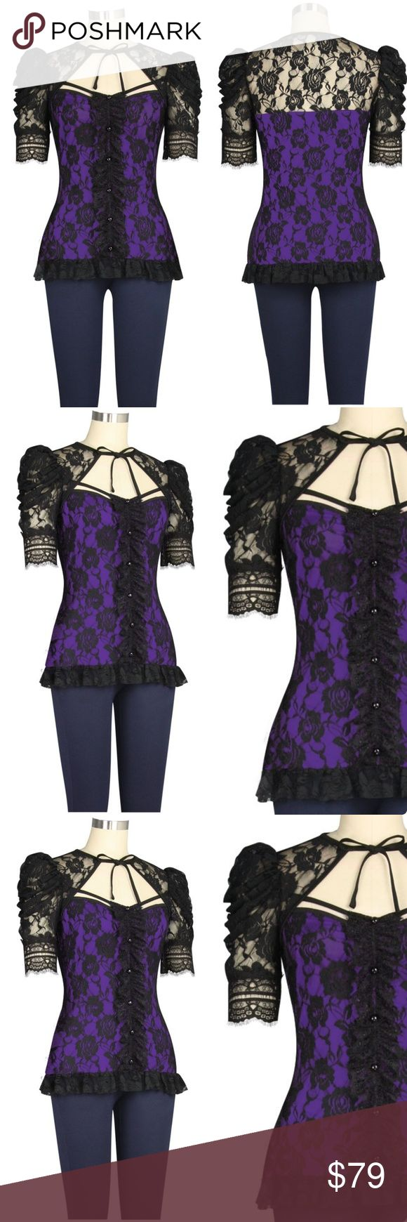 "Lace Steampunk Gothic Clothing Top Shirt Purple New Lace Steampunk Clothing Top   Now Accepting Pre-Orders on this Petticoat! ▶▶▶Delivery 5-12 Days Delivery◀◀◀  This is a private brand also sold at Hot Topic. Not Hot Topic brand itself.  This shirt features a lace outer layer with a jersey lining underneath. Decorative buttons and lace down the front.  Length: 25"" Material: 93% Polyester 7% Spandex Hot Topic Tops"