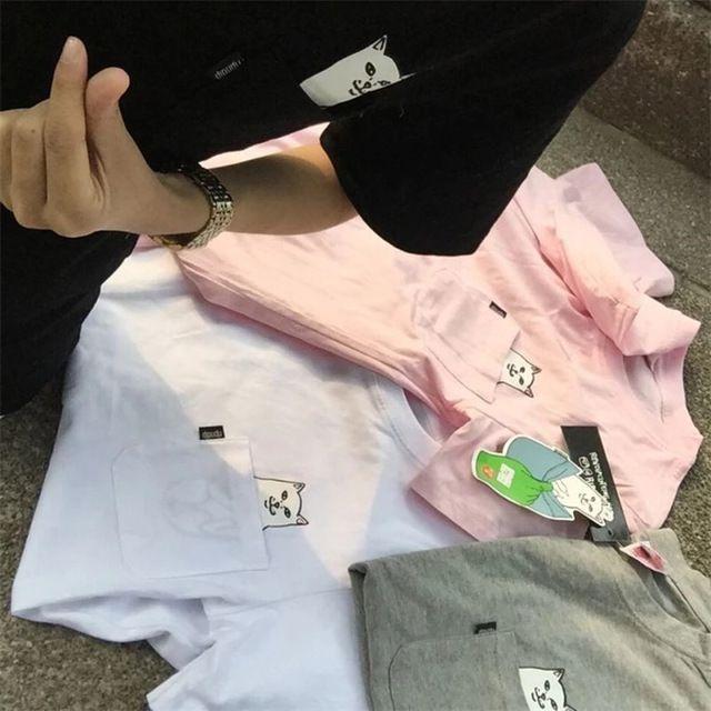 RIPNDIP Pocket Cat Men Women T shirt 2016 Best Version Harajuku Style Hip Hop Skateboard Cotton Super Fashion Couple Tops