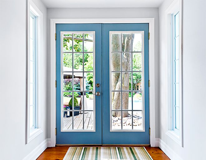 #French #doors are matching double doors that open and close in the center. Most commonly French Doors open onto a backyard garden or deck. They make a convenient entrance and exit because both door panels open up to create one large opening space. This bigger space opening is beneficial for many reasons such as for moving furniture, as opposed to sliding doors that typically have one stationary side and only one functional panel that slides.