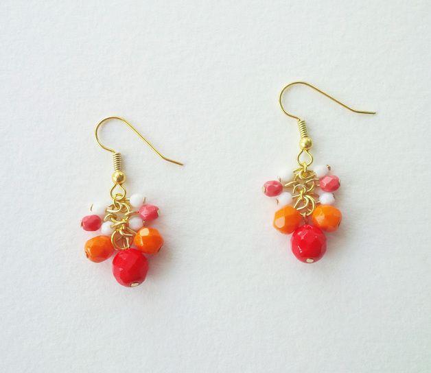 Glasperlen-Ohrringe koralle/rot/orange/weiss