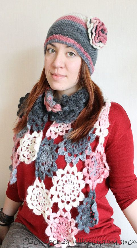 Шапка+шарф крючком
