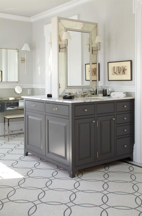 Two-sided vanity; Peter Zimmerman: Idea, Cabinets Colors, Floors, Masterbath, Bathroom Vanities, Grey Cabinets, Sinks, Master Bath, Bathroom Cabinets