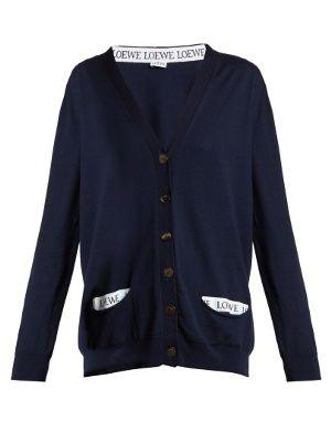 Logo-trimmed V-neck wool-blend cardigan | Loewe | MATCHESFASHION.COM UK