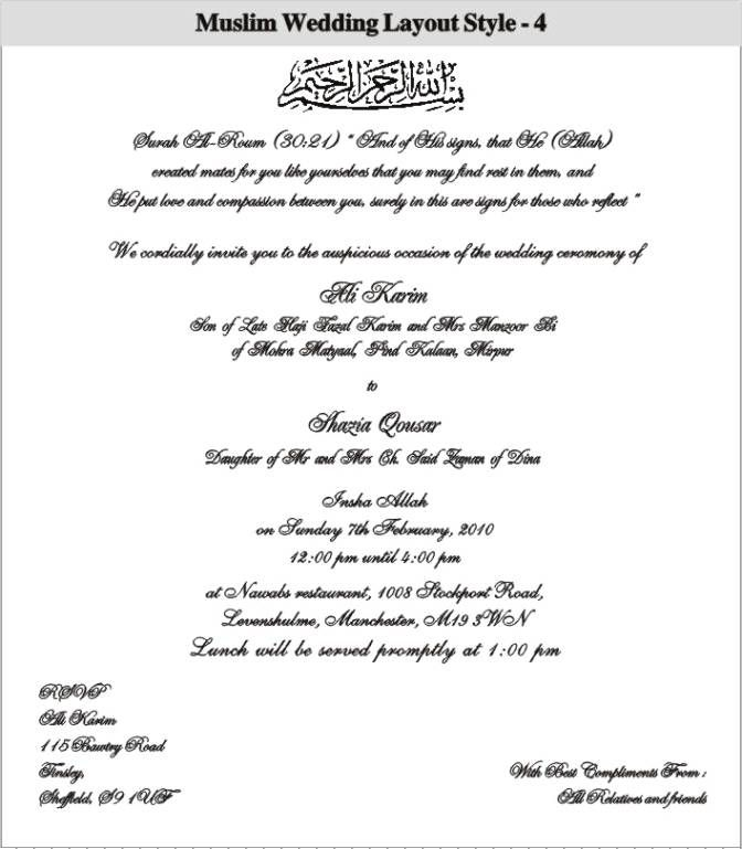 Kerala Muslim Marriage Invitation Letter Format Inviwall Co