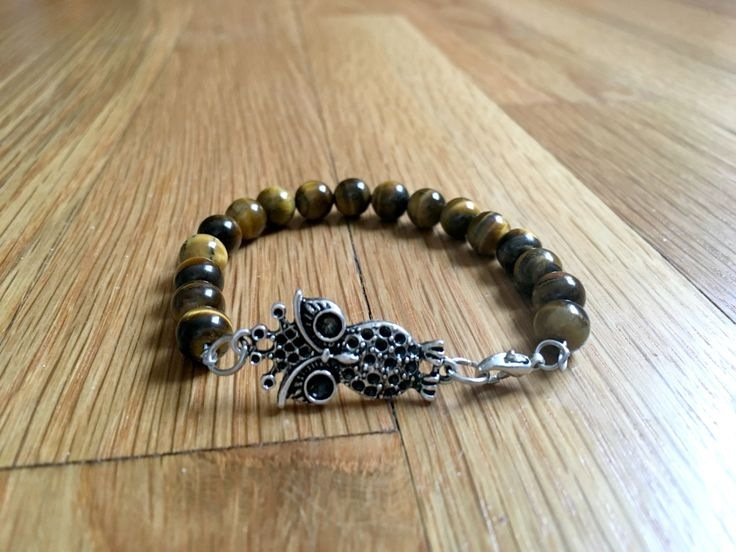 Tigers Eye Gemstone - Spirit Warrior Beaded Bracelet - Owl Charm by BeyondCreationsCo on Etsy