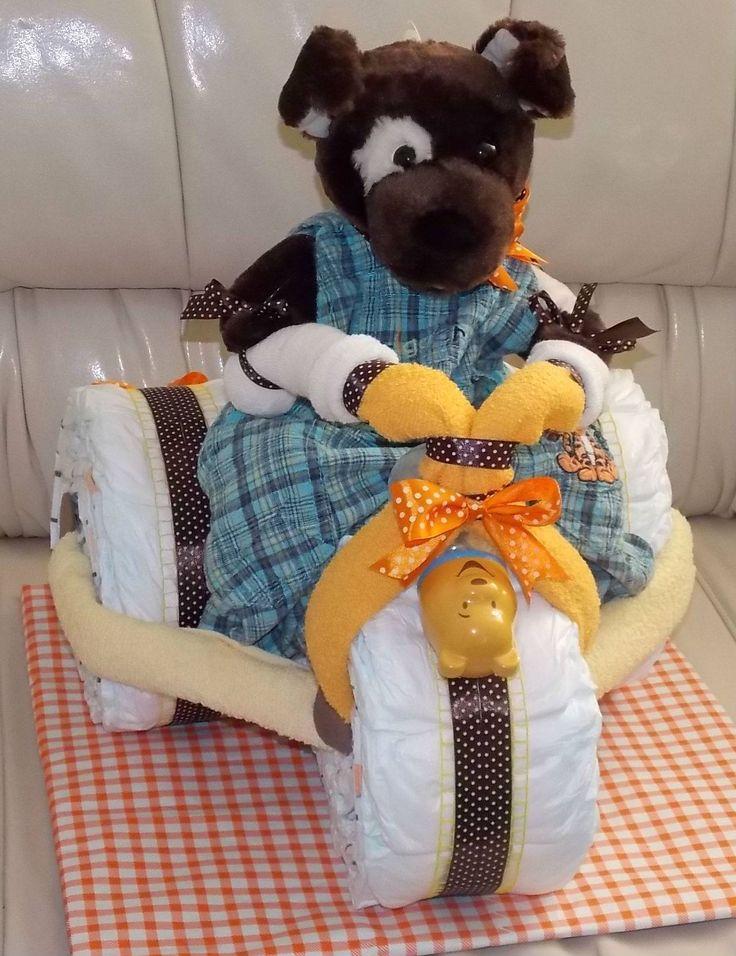 Tricicleta din scutece www.venellagift.ro