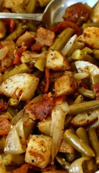 Onion Soup Mix Green Beans 'n Potatoes with Bacon