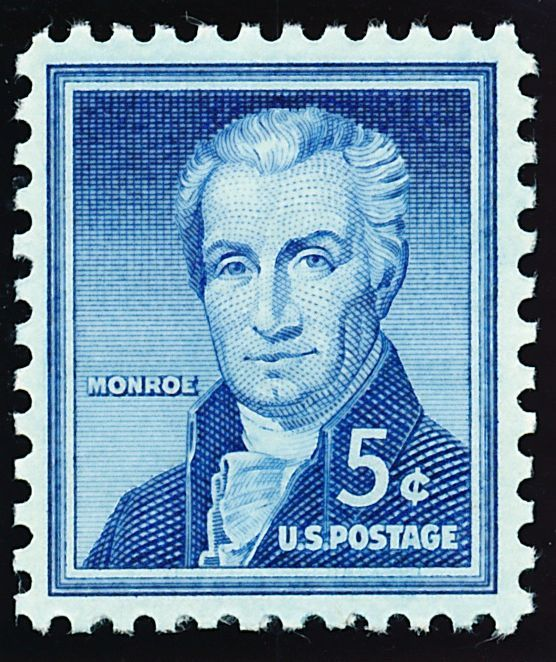 By the time first-class postage rose to 5 cents in 1963, a new Washington stamp had replaced this issue. It did see use as the domestic airmail postcard rate. From 1954, James Monroe.