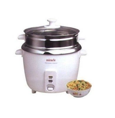 Miracle Exclusives ME81 Stainless Steel Rice Cooker NEW IN DISTRESSED BOX
