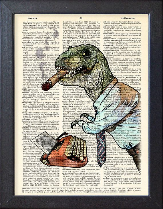 Tyrannosaurus Rex stand any stress, T Rex poster, Mad Rex, Dictionary book Print, Gift poster, Dorm Home Office College Wall decor, CODE/173