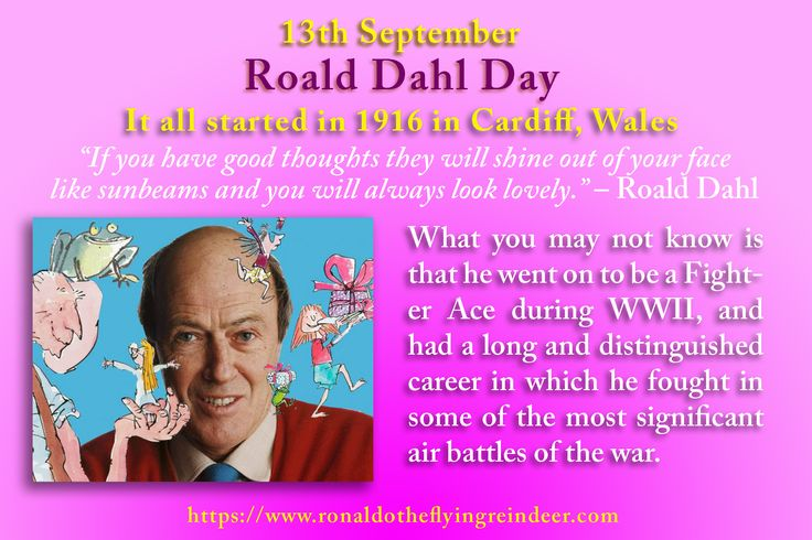 #today 13th Sept is #RoaldDahlDay How to celebrate Roald Dahl Day Our preferred way of kicking off Roald Dahl Day is with a run of Chitty Chitty Bang Bang, a movie that was written by Roald Dahl and Ken Hughes and is a childhood favorite of millions everywhere. From there on out it's Fantastic Mr. Fox, and the list of other movies that were based on his works. #KidsTakeOverTheKitchenDay #RoaldDahl #Roald #Dahlbooks #chuildrensbooks #kidsbooks  #kidlit