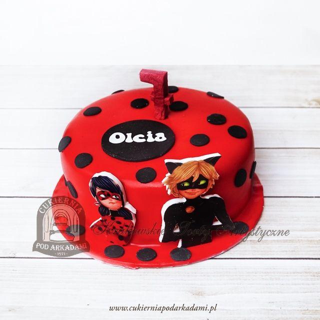 216BD Tort w kropki Miraculum - Biedronka i Czarny Kot. Miraculous: Tales of Ladybug and Chat Noir cake.
