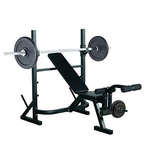 Oferta: 115.99€ Dto: -32%. Comprar Ofertas de Banco de Pesas Entrenamiento de Musculación Fitness con Respaldo Regulable 175x98x30cm Color Negro barato. ¡Mira las ofertas!