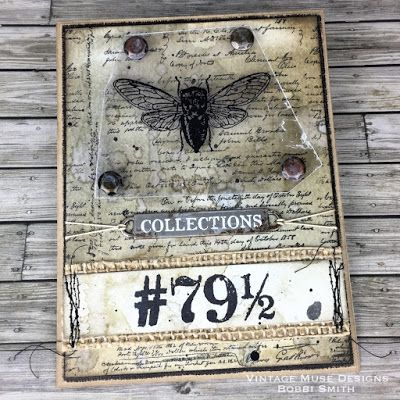 Creativations 2018 Tim Holtz Blog Hop - Stampers Anonymous Entomology & Merchant Stamps - Handmade Card - Vintage Muse Designs
