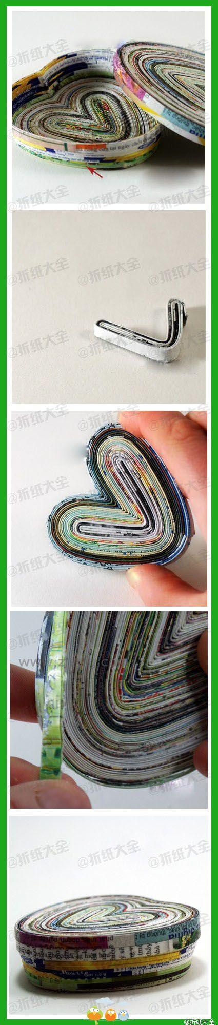 DIY Upcycled Magazines Heart Shaped Box