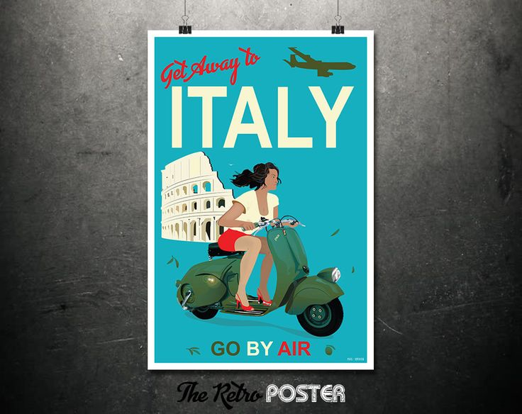 Get Away To Italy - Go By Air - Travel Posters Italy, Travel Prints, Italy Print, Italy Poster, Scooter Wall Art, Italian Gifts, Wanderlust by TheRetroPoster on Etsy