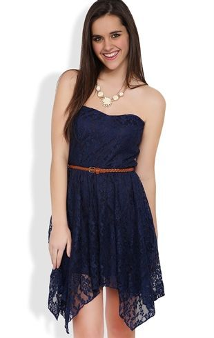 Deb Shops Lace Strapless High Low #Dress with Hanky Hem and Braided Belt $24.67