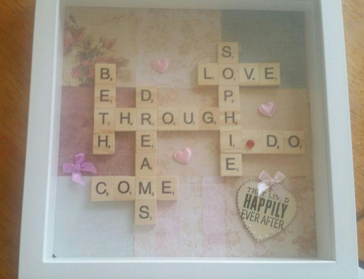 Shadow Box for wedding couple - scrabble & hearts